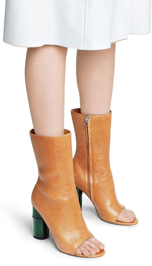 Zane tan/green open toed high ankle boots with bamboo heels #AcneStudios #Resort2015 #shoes