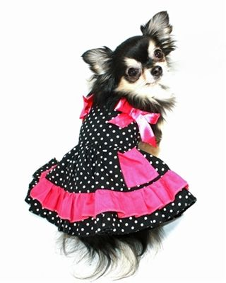 Black and White Polka Dot Dress with Pink Bow Accents 26.99