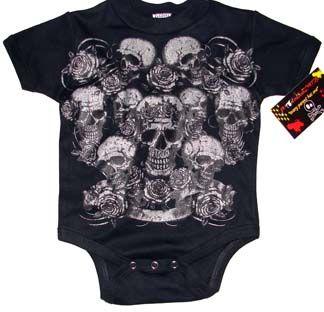 Punk Baby Onesie or Toddler T-Shirt: Skulls N Roses Metallic
