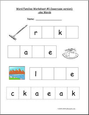 Worksheet: -AKE Word Family - preview 1 | preschool | Pinterest ...