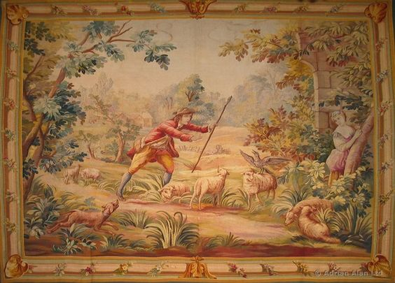 A Fine Aubusson Pastoral Tapestry Depicting a Shepherd and Shepherdess in a Picturesque Landscape by AUBUSSON - Adrian Alan