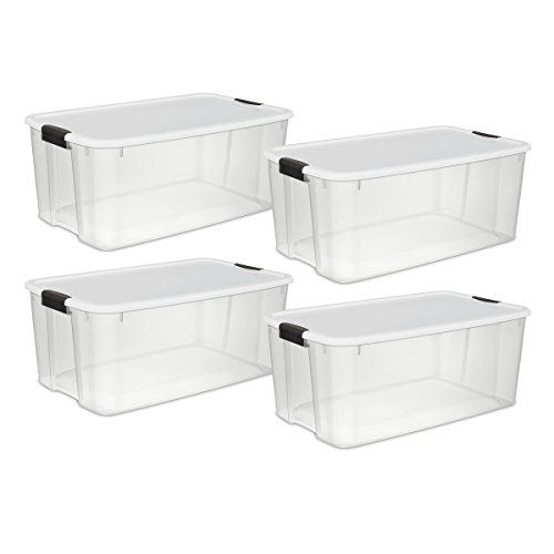 Sterilite 19909804 116 Quart110 Liter Ultra Latch Box Clear With A White Lid And Black Latches 4pack Check Out T Sterilite Storage Bins Storage Bins Storage