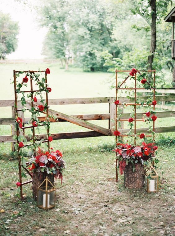 Copper wedding trellis and copper on pinterest for Decorating a trellis for a wedding