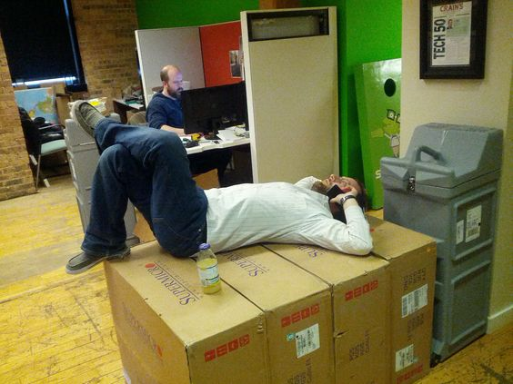 Nothing like the comfort and cushioning a good set of server boxes can provide for long phone meetings