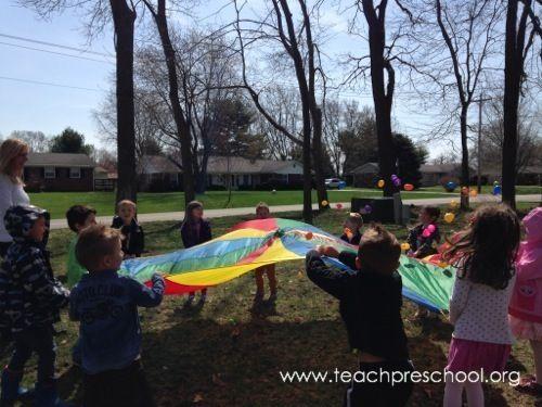 Easter egg parachute game by Teach Preschool