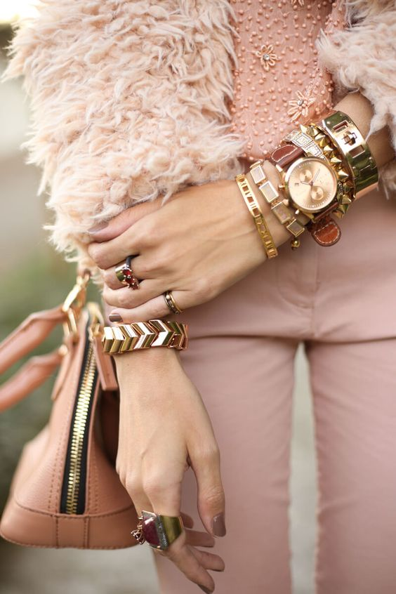 Baby pink monochromatic outfit, wearing Gap pants, beaded top from Forever 21 and fluffy coat. Delicate flats and lots of bracelets and rings.