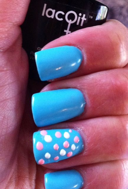 LacQit One Step gel Polish fun easy 30 second nail art! dot dot dot ...cure ..Done! New colors In a Blue Streak with Tangerine Tango and Its a White out dots! dot with toothpick! www.thenailscene.com