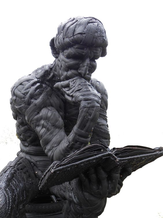 'Le Poete'  - made from old bicycle tyres - by Mick Davis