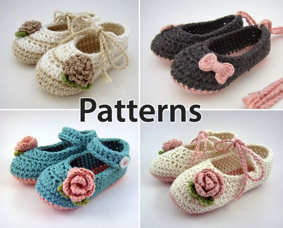Crochet Pattern baby booties flowers and bows baby by JennOzkan
