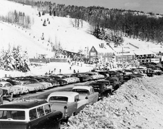 Bromley Mountain, Vermont, 1950s. No heated car seats back then!