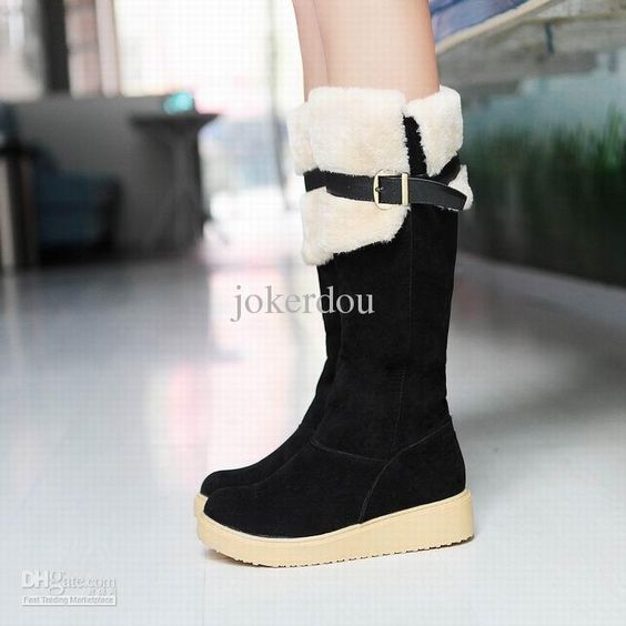 Wholesale -2013 Hot Sale Women style flat platform winter boots casual design foldable collar fur inside over knee snow boots, $28.64/Pair | DHgate