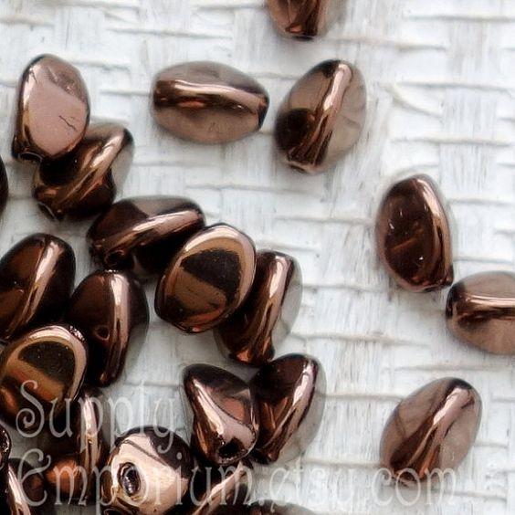 Jet Bronze Pinch Beads - 5 Grams Jet Bronze Pinch Beads - 5x3mm Pinch Beads - Approximately 63 Beads - 2944