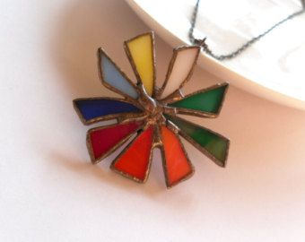 Statement necklace stained glass jewelry by ArtemisFantasy on Etsy
