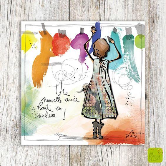 """""""Une année haute en couleur !"""" - Carte de voeux illustré par Myra Vienne - www.editionsdecortil.be"""