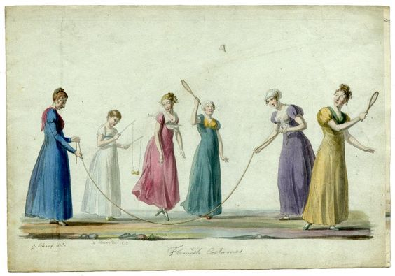 George Scharf, 1813. Studies of ladies in Flemish costume; playing with skipping rope and shuttlecock. Watercolour, over traces of graphite, on pale blue-grey paper. British Museum.