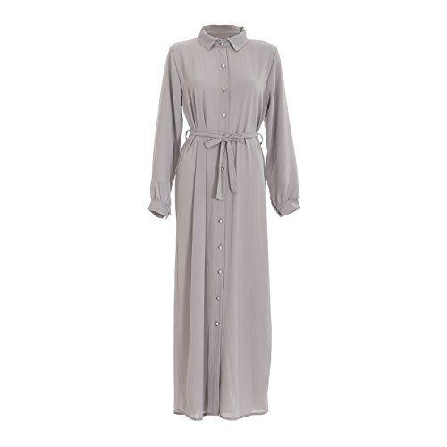 Womens Ladies Plain Long Full Button Open Abaya Shirt Dress Belted Maxi Kaftan