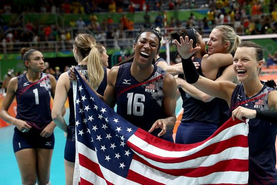Foluke Akinradewo, Courtney Thompsonm, and their teammates losing it after winning the women's bronze medal match in volleyball.  Rio Olympics 2016.  | 27 Majestic Photos Of Team USA That Will Turn Your Heart To Goo