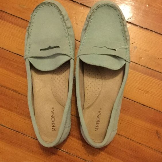 Genuine Suede Merona loafer in teal size 6 1/2 Never worn light teal moccasins from Target! They are a size 6.5 and fit true to size. Perfect for work or hanging out with friends! Merona Shoes Flats & Loafers