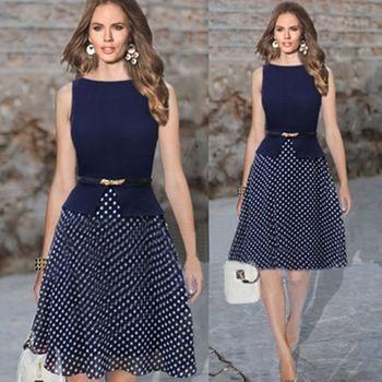 50% OFF 2014 novas mulheres verão Casual vestido de bolinhas imprimir Chiffon Vestidos senhoras elegantes Vestidos de festa com cinto: