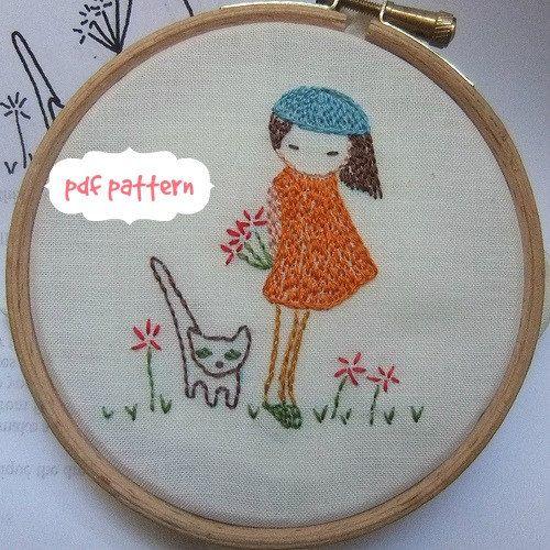 Shy girl Hand embroidery pattern pdf von LiliPopo auf Etsy
