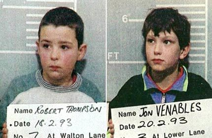 Robert Thompson and Jon Venables, both ten years old, murdered James Patrick Bulger after they abducted him from a shopping mall on 12 February 1993, James was only two years old. He was abducted, tortured, murdered and left lieing on near by railroad tracks. The pair were found guilty on 24 November 1993, making them the youngest convicted murderers in modern English history.: