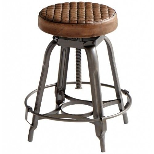Industrial Iron Quilted Leather Seat Stool Adjustable Stool