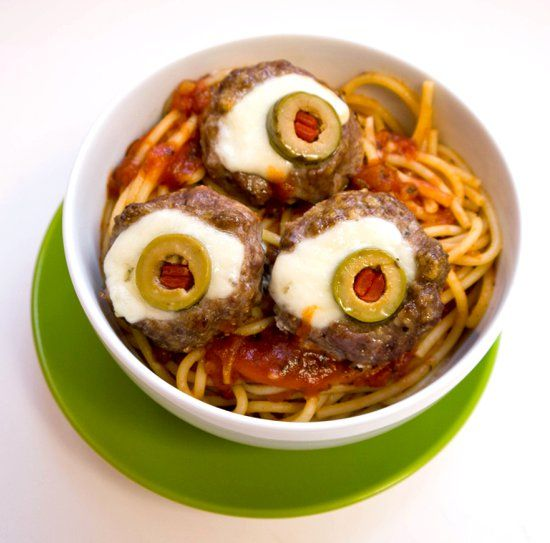 eyeball meatballs for halloween - Scary Halloween Meatballs