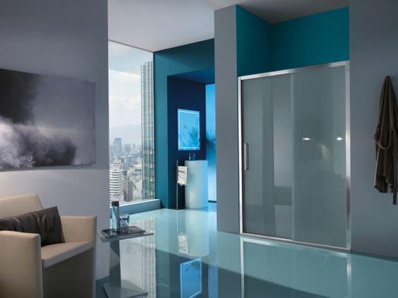 modernes badezimmer duschkabine mit glastür   bad und toilette, Badezimmer