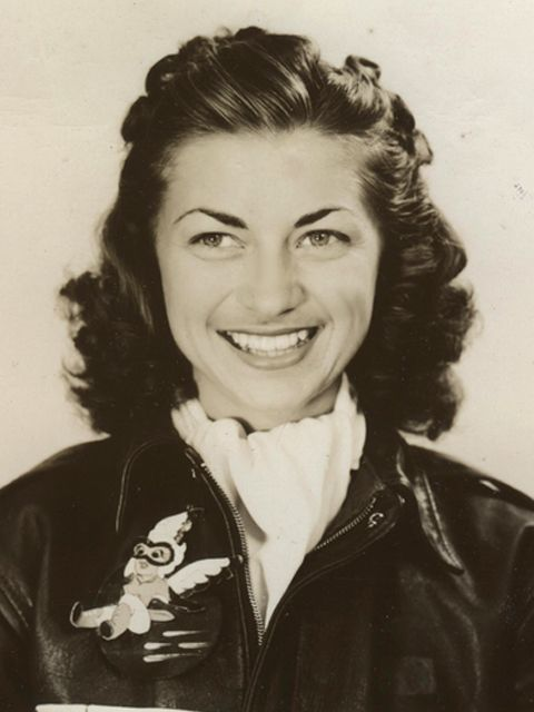 """Portrait of Mildred Axton, date unknown. Axton was """"one of the first three Women Airforce Service Pilots to be trained as a test pilot"""" and was the first woman to fly a B-29. She passed away in 2010, age 91."""