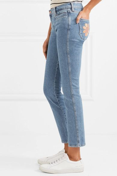 Paris Cropped Embroidered Low-rise Skinny Jeans - Blue Mih Jeans xFTkcu