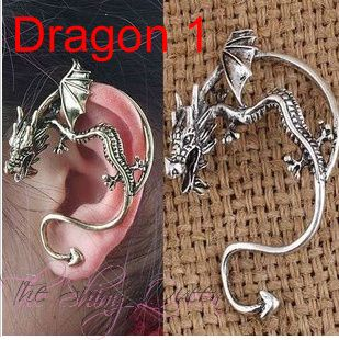 New fashion for this season! The guardian dragon is said to protect who ever is wearing it, a nice piece to add to your collection. This cuff does require a pierced ear. Available 2 different styles in Silver tone and Black.