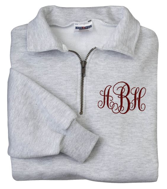 Monogrammed Sweatshirt Quarter Zip Pullover Embroidered Personalized | eBay
