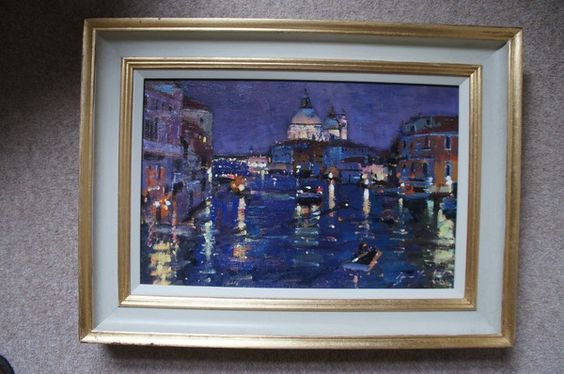John Robertson Fine Paintings presents a different view of Venice, 'Grand Canal Nocturne' (United Kingdom 2013)  	Bruce YARDLEY (born 1962). Visit The Edenbridge Galleries in Kent to see more of John Robertson Fine Paintings collection. www.edenbridgegalleries.com