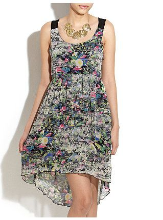 Lined Floral Dip Hem Dress