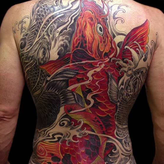 Tattoo Ideas Koi Carp: Koi Fish Full Back Tattoo Designs