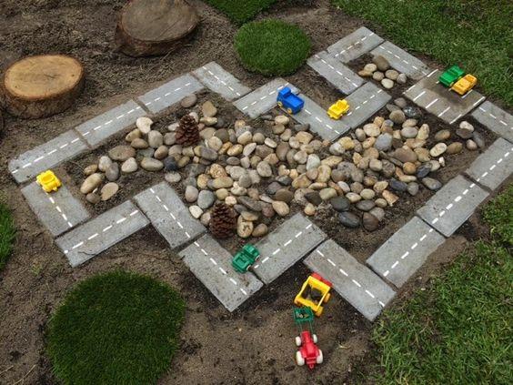 DIY Outdoor Car Track rock garden!