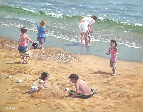 People on Bournemouth Beach Kids in Sand by Martin Davey