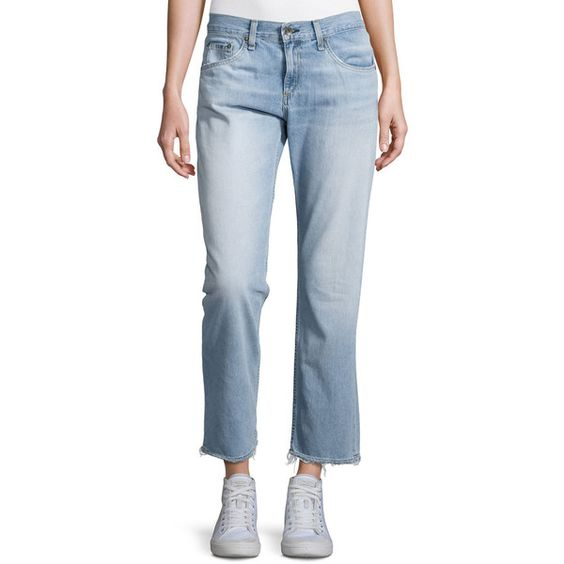 Rag & Bone/Jean Boyfriend Ankle Jeans (510 ILS) ❤ liked on Polyvore featuring jeans, chaucer, relaxed fit boyfriend jeans, relaxed boyfriend jeans, cropped jeans, faded jeans and light wash jeans