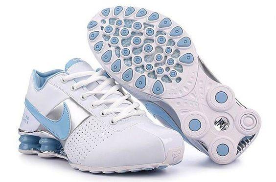 Kvinna Vit Silver Blå Nike Shox OZ Skor 49895 Rea