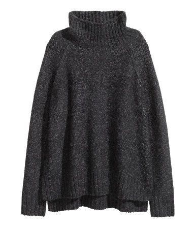 Knitted polo-neck jumper | Black marl | Ladies | H&M AU: