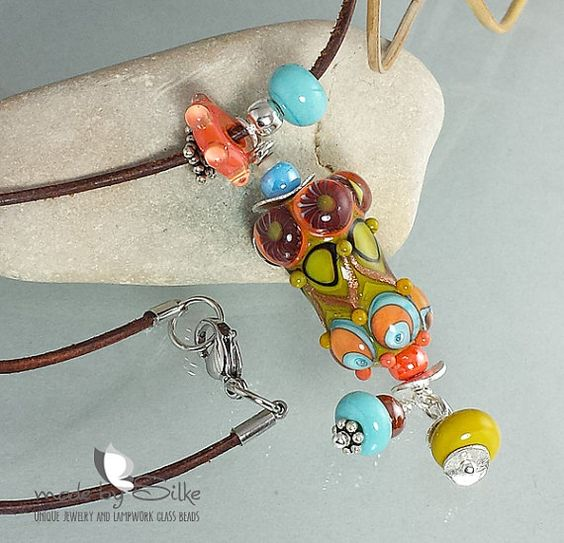 Lampwork bead pendant - necklace -- made by silke -- leather cord -- art glass -- O r i e n t a l  I n s p i r a t i o n