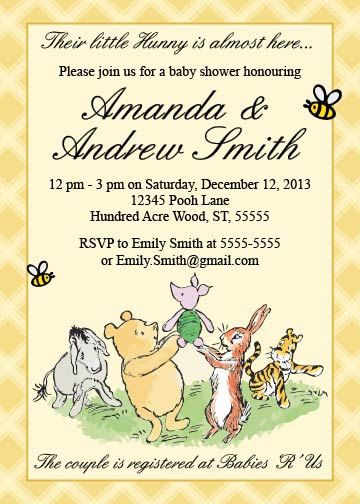 Classic Winnie The Pooh Baby Shower Invitation Printable Book Shower G Printable Baby Shower Invitations Baby Shower Themes Neutral Baby Shower Invitations