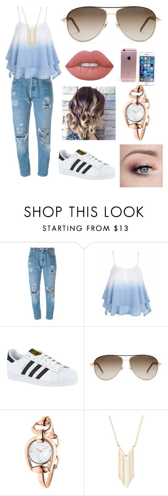 """""""My brother made this one """" by snuggle-bunny86 ❤ liked on Polyvore featuring Levi's, adidas, Gucci, Gemelli and Lime Crime"""