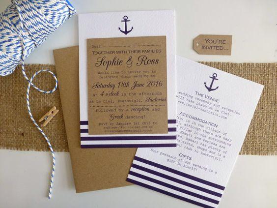 Nautische Hochzeitseinladungen mit Kraft, Marine Effektstreifen, Anker-Detail und blaue und weiße Bindfäden ~ perfekt für Hochzeiten am Meer, am