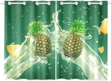 Pineapple Green Curtain Green Curtains Pineapple Curtains Window Treatments