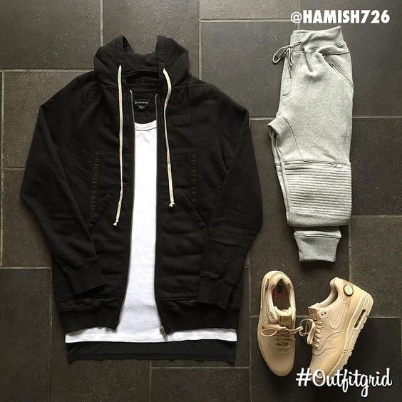 Outfit grid - Black hoodie & joggers