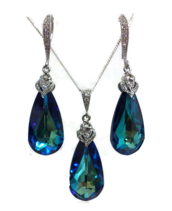 Something Blue Bridal Jewelry Set, Peacock Wedding Necklace, Bridesmaid Earrings, Teal Blue Jewelry, BERMUDA BLUE on Etsy, $75.00
