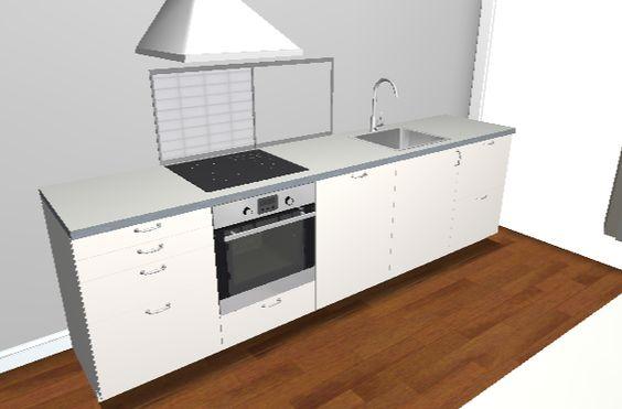 Ikea Home Planner Valkoiset kaapit, harmaa taso, teräsallas, valkoista laattaa välitilaan (koko tason pituudelle, suunnitteluohjelma ei halunnut tehdä yhteistyötä)