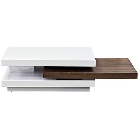 Nexus Modern 2-Tone Java Pull-Shelf White Cocktail Table