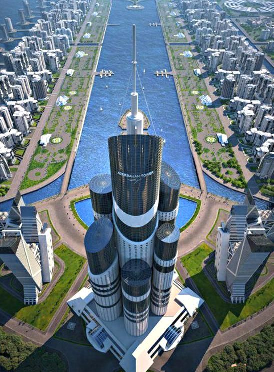 With Plans To Be The Worlds Tallest Building At About 3645 Feet The Azerbaijan Tower Is In 2020 Skyscraper Architecture Amazing Architecture Futuristic Architecture